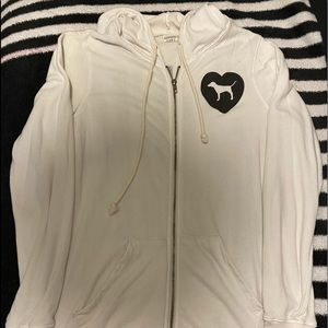 Vs Pink White hooded zip up